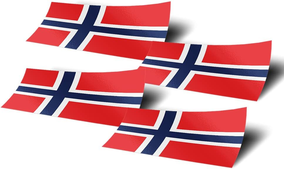 Norway 4 Pack of 4 Inch Wide Country Flag Stickers Decal for Window Laptop Computer Vinyl Car Bumper Scrapbook Norwegian 4