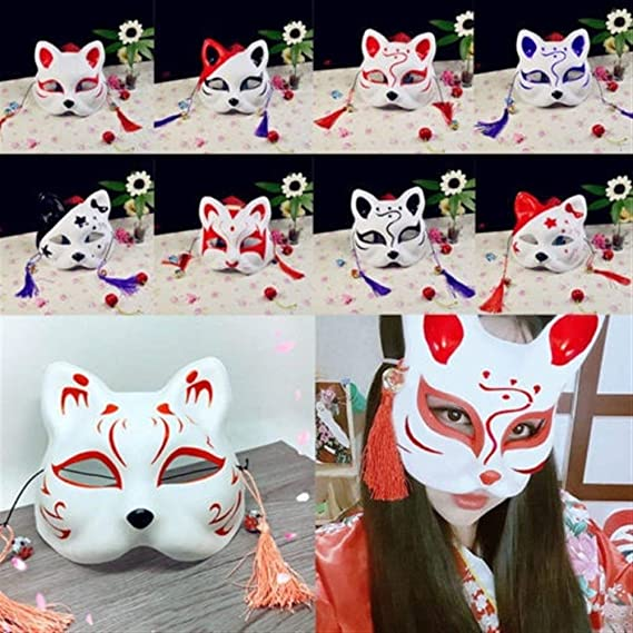 YLBHXC La Mitad De La Cara Fox Máscara Pintada A Mano Máscara De ...