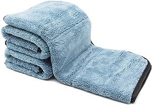 Auto Care 920GSM Super Thick Microfiber Car Cleaning Cloth Detailing Towel 15'' x 17.7'' (Blue/Gray-3PCS)