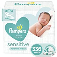 Baby Wipes, Pampers Sensitive Water Based Baby Diaper Wipes, Hypoallergenic and Unscented, 6 Pop-Top Packs, 336 Total Wipes (Packaging May Vary)