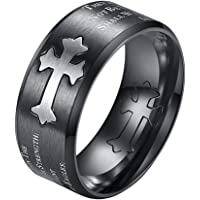 INRENG Men's Stainless Steel 9MM Christian Purity Cross Ring Bible Verse Isaiah 40:31 Band Beveled Edges