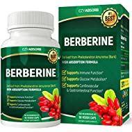 EzyAbsorb Gluten-Free Berberine 500mg, 90 Veggie Capsules for Blood Sugar Support/w LA-3 AMPK Metabolic Activator