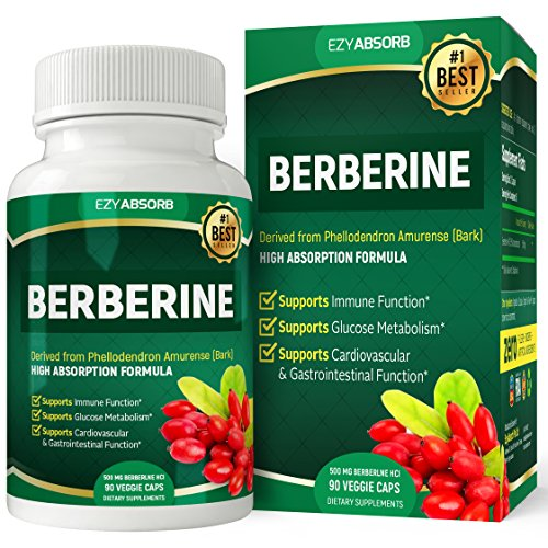 EzyAbsorb Gluten-Free Berberine 500mg, 90 Veggie Capsules for Blood Sugar Support/w LA-3 AMPK Metabolic Activator ()