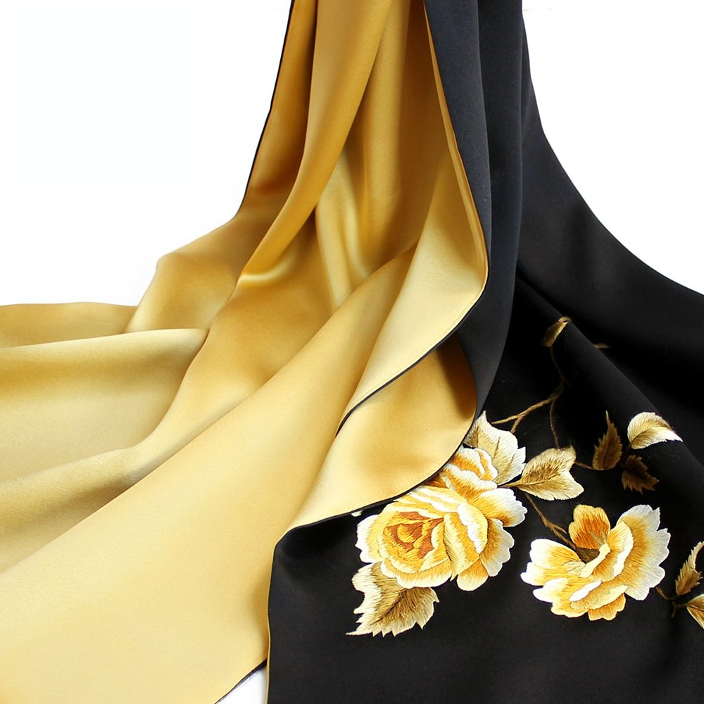 I ZZHF weijin Silk Scarf Autumn and Winter Embroidery Silk Scarves Women Silk Embroidered Shawl Dual Scarf Scarf (155  35cm) (9 colors Optional) (color   F)