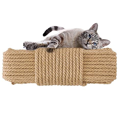 Aoneky Cuerda de Sisal Natural para Árbol Rascador para Gatos - 6mm/8mm, 10M-100M, Cuerda de Reemplazo para Arañar Reparar, Juguete de Mascotas, ...