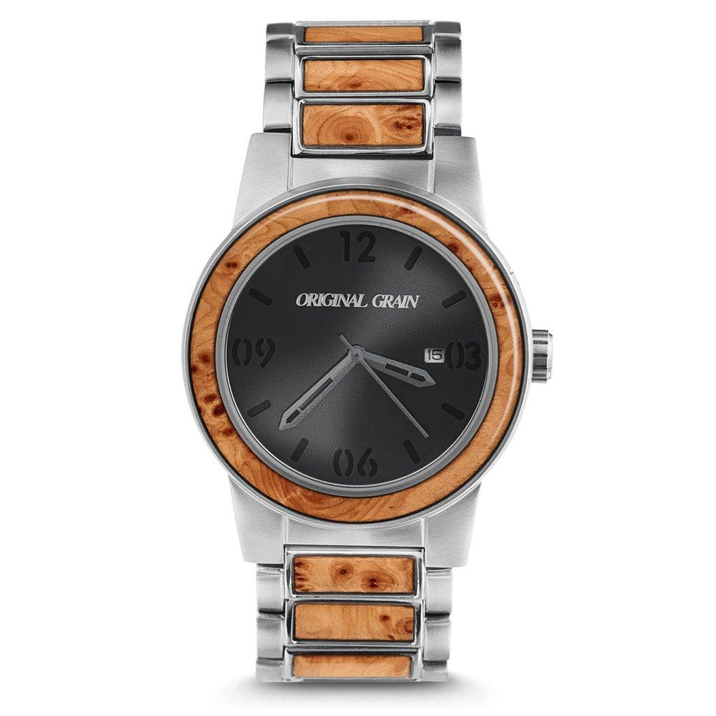 Original Grain Wood Wrist Watch | Barrel Collection 42MM Analog Watch | Wood And Stainless Steel Watch Band | Japanese Quartz Movement | Burl Wood