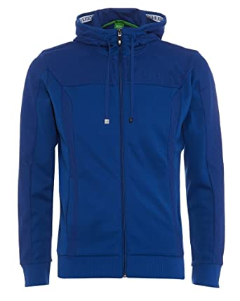 d14878685be BOSS Hugo Green Mens Saggy Zip Through Hoodie Blue Sweatshirt:  Amazon.co.uk: Clothing