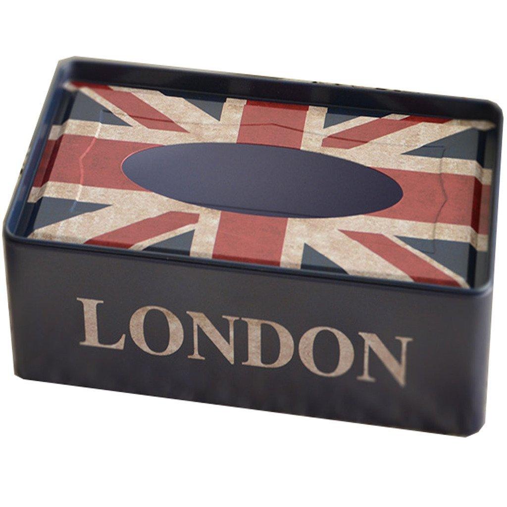 Winterworm Vintage British Style lata Metal Londres doble decker bandera de Reino Unido caja de pa/ñuelos hogar