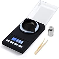 Hotloop Premium High Precision Digital Milligram Scale, 50 x 0.001g Reloading Jewelry Scale with Case, Tweezer, Calibration Weight and Weighing Pan, Pocket Size, Black