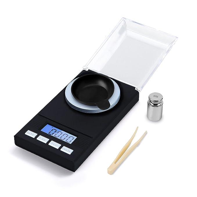 hotloop Premium Digital de alta precisión miligramo escala, 50 x 0,001 g recargando joyería Escala con funda, pinzas, peso de calibración y un peso de pan, ...