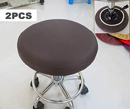 Sigmat 2PC Waterproof PU Bar Stool Cover Anti Slip Round Seat Cover 18 Inch  Coffee