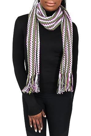 9a5f34f60 Missoni D4900 0001 Pink/Green Wool Blend Crochet Knit Zigzag Scarf ...