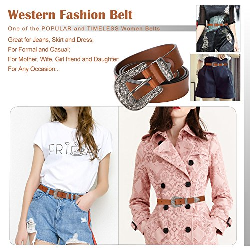 Ladies Western Leather Belts Cowhide Leather Jeans Belt Vintage Dresses Skinny Belt Adjustable Metal Buckle 28''-34'' Gift Box Brown by XZQTIVE (Image #4)