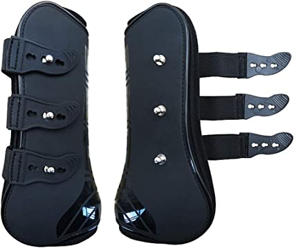 Lami-cell Pro Air Open Front Tendon and Fetlock Boots for Jumping Horses Black