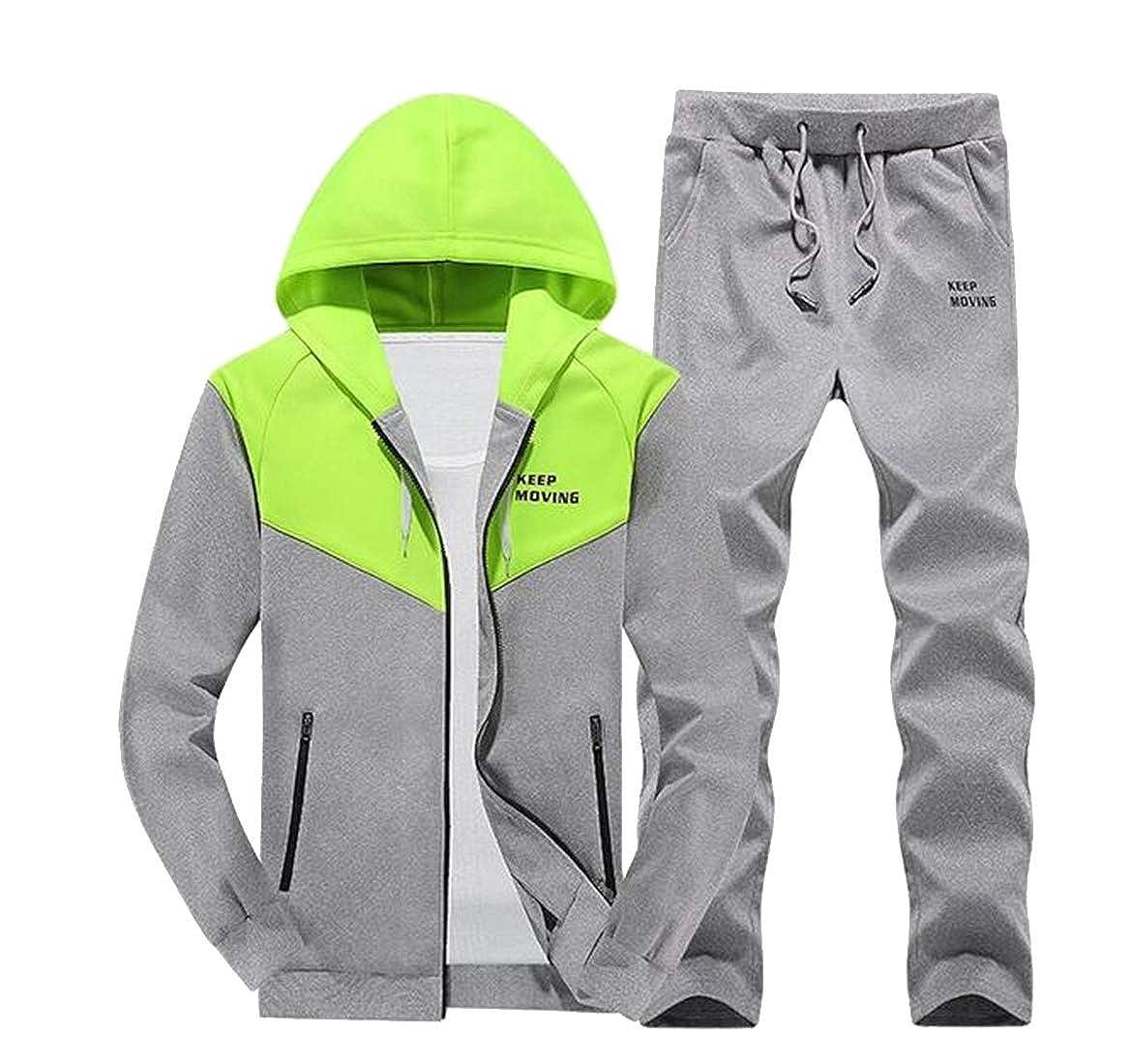 WAWAYA Mens Hoodie Sweatshirt+Pants Zip up Color Block Tracksuits Sweatsuits Outfits