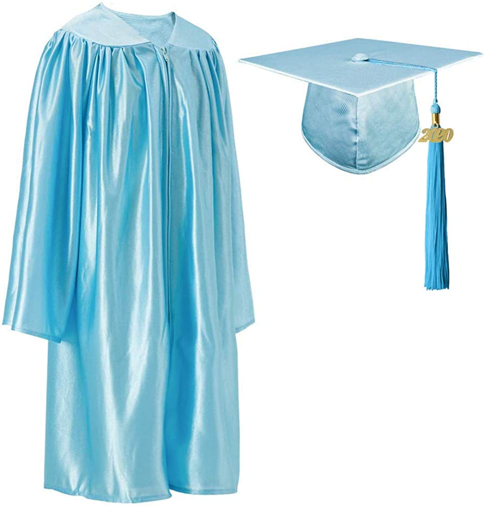 GraduationRoyal Unisex Preschool//Kindergarten Graduation Shiny Gown Cap Tassel Set with 2019//2020 Gold Year Charms