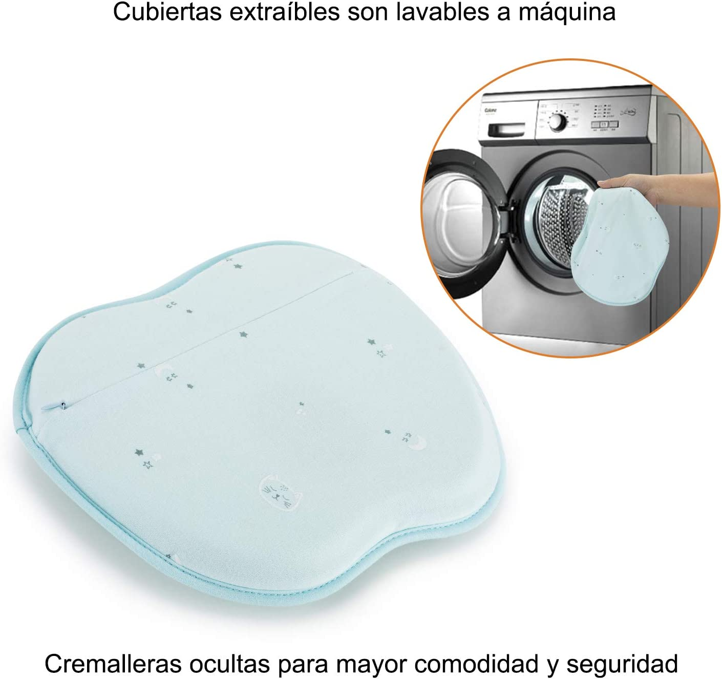 Almohada Beb/é Coj/ín Cuna para Plagiocefalia Ortop/édica de Memoria Verde