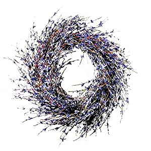 Charm & Chic Faux Dried Lavender Floral Door Wreath Natural for Fall Front Door or Indoor Home Decor 30