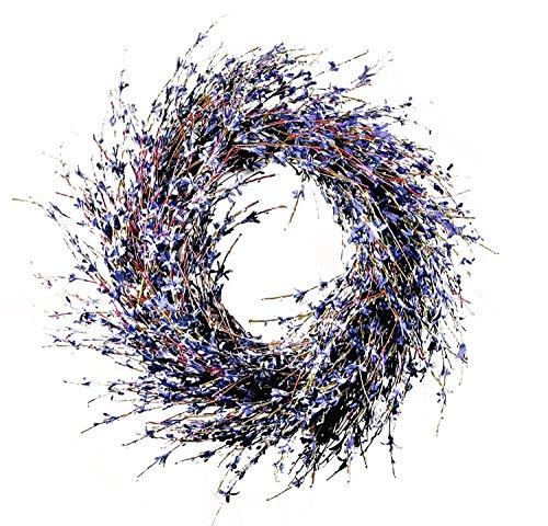 Charm & Chic Faux Dried Lavender Floral Door Wreath Natural for Fall Front Door or Indoor Home ()