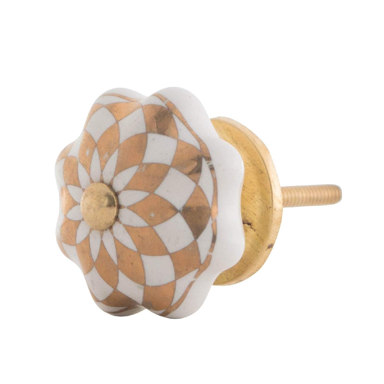 Knober dise/ño Vintage Color Blanco y Dorado Pomo para Muebles cer/ámica, Forma de Calabaza, Porcelana