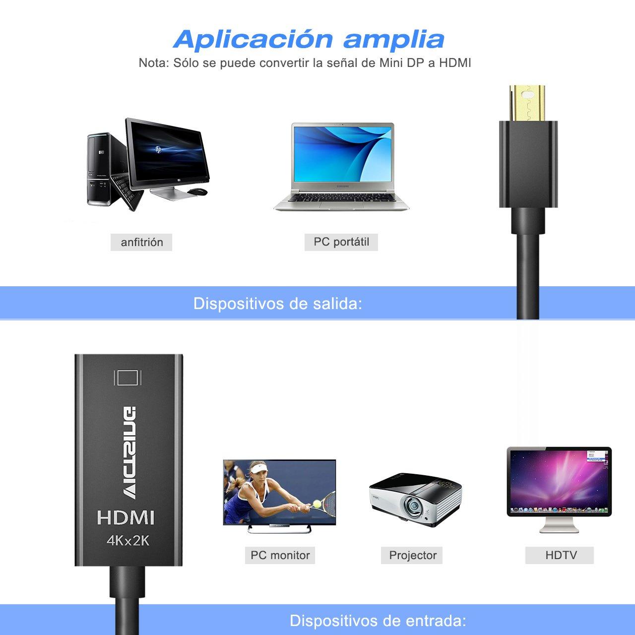 Mini Displayport DP/Thunderbolt a HDMI HDTV cable VicTsing, Adaptador de AV suporte TV 4K de resolución y el cable adaptador 3D para Apple Macbook ...