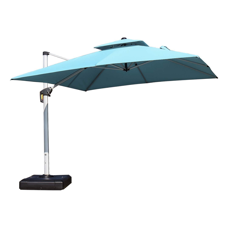 PURPLE LEAF 10 Feet Double Top Deluxe Square Patio Umbrella Offset Hanging Umbrella Outdoor Market Umbrella Garden Umbrella, Turquoise Blue