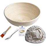 "Banneton Proofing Basket 10"" Round Banneton Brotform for Bread and 1000g Dough [Free Brush] Proofing Rising Rattan Bowl…"