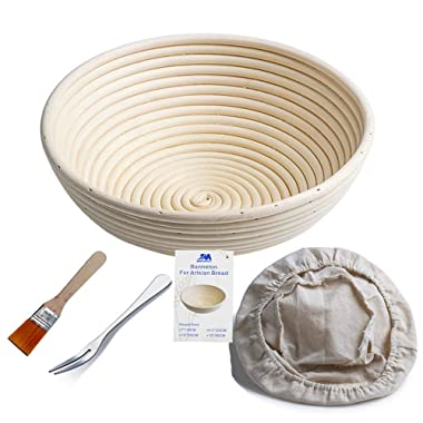 Banneton Proofing Basket 10  Round Banneton Brotform for Bread and Dough [FREE BRUSH] Proofing Rising Rattan Bowl + FREE LINER + FREE BREAD FORK (1000g dough)