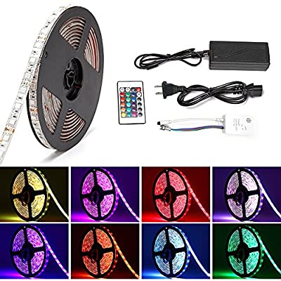 Music LED Light Strip,SOLMORE Sound Activated RGB 16.4ft/5M SMD5050 300 Leds Strip Kit,Waterproof Strip Lights,Flexible Rope Light with 24 key IR Controller+12V 5A Power Supply Home Kitchen DIY Lights