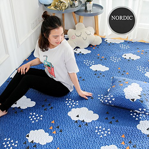 Decorative Rugs Modern Carpet Rectangle Cotton mats for Bedroom Living Room Bedside Simple Nordic Baby Crawling Mattress Tatami Home Non-Slip Washable-A 110x210cm(43x83inch)