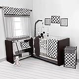 Bacati Dots/Pinstripes Black/White 10 Piece Crib Set Including Bumper Pad