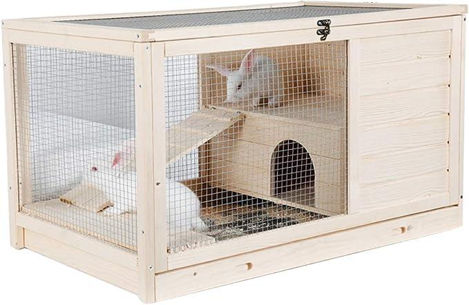 Casetas para perros Casa De Mascotas Jaula Para Conejos Jaula De Cerdos Holandesa Dormitorio Doméstico Jaula De Erizo De Madera Balcón Exterior Jaula Para Conejos Casa De Mascotas Puede Soportar 20 Kg