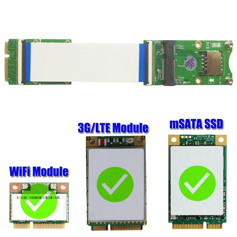 Mini PCI-E x mSATA Flexible Extender cable With SIM card Slot by HLT (Image #2)