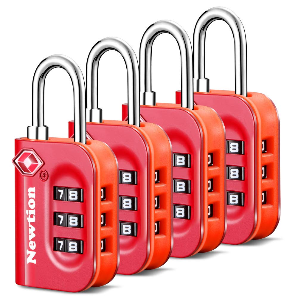 Newtion TSA Lock 4 Pack,TSA Approved Luggage lock,Travel Lock with Double Color Alloy Body,Combination Padlock for Luggage (Red 4Pack)