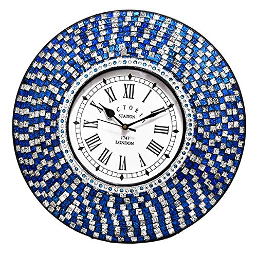 Blue Mosaic Clock - HANDCRAFTEDININDIA Wall Clock with Glass Mosaic Blue (41 cm, Dial 20 cm)