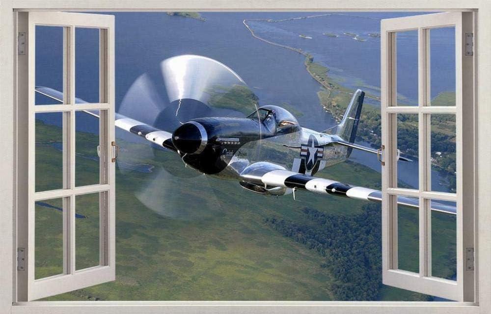 Pegatinas de pared con vista 3D, avión de caballo militar, calcomanía de ventana 3D, pegatina de pared, mural artístico, 50 CM x 70 CM