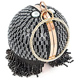 Black-A Round Ball Clutch With Rhinestone Tassles & Ring Handle
