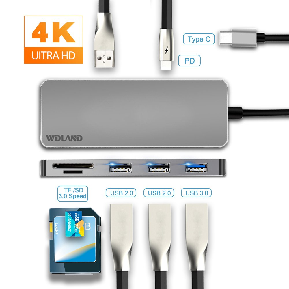 USB C Hub,7 in 1 USB C Adapter Dex Station 3×USB Ports HDMI SD Card Reader Galaxy Note 8/S8/S8+ Huawei Mate 10 MacBook Pro 2016/2017 - Grey