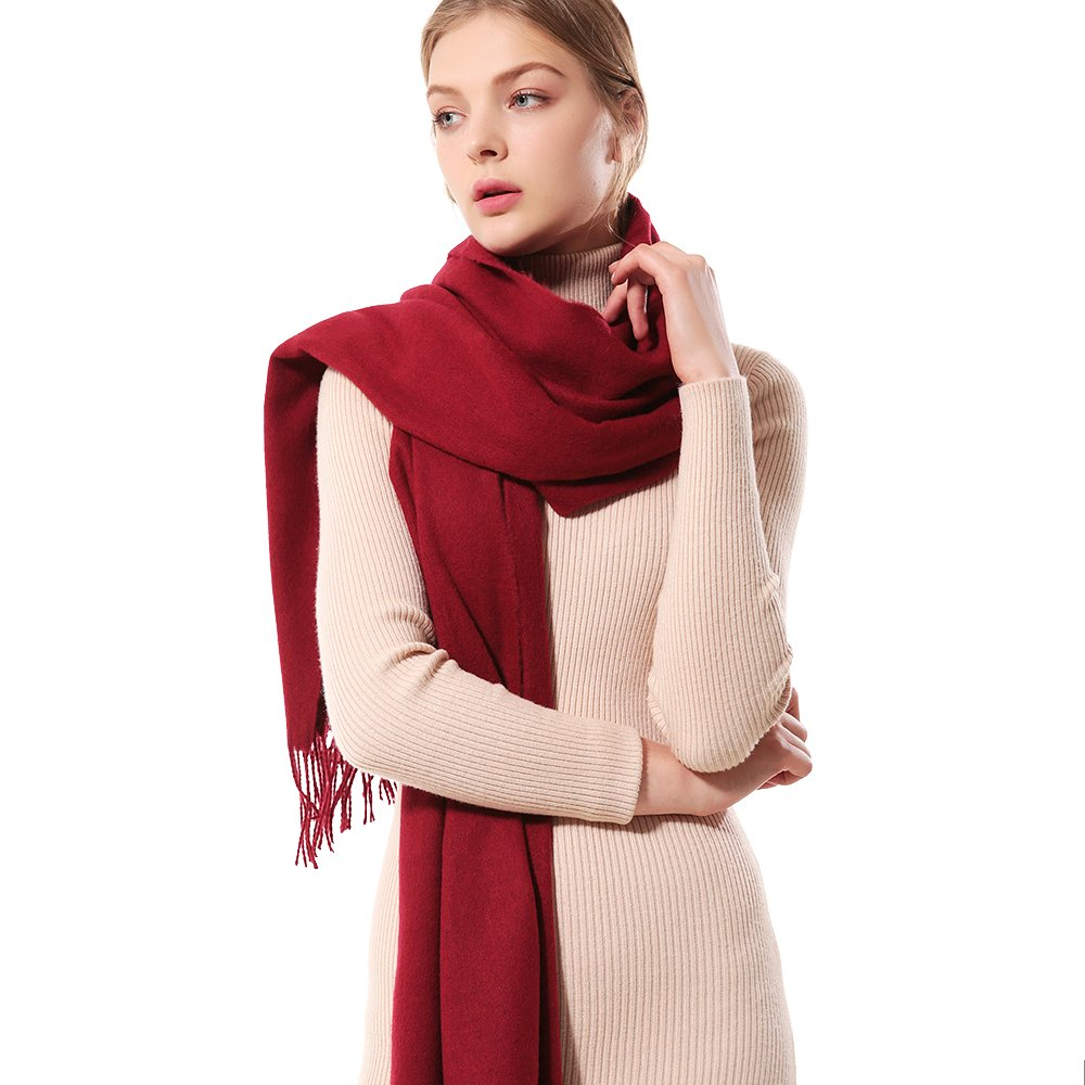 Womens Thick Soft Cashmere Wool Pashmina Shawl Wrap Scarf - Aone Warm Stole(Wine Red)