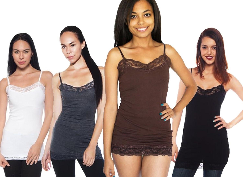 4 Pack Zenana Women's Lace Trim Tank Top Small Black, White, Charcoal, Dk Brown