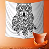 Polyester Tapestry Wall Hanging Tribal Native Americal Wolf Head with s ansDetails Print Black and White Wall Decor for Bedroom Living Room Dorm55W x 55L Inch