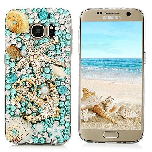 S7 Case, Samsung Galaxy S7 Case - Mavis's Diary 3D Handmade Blue Ocean Series Full Diamonds Bling Crystal Golden Anchor Starfish Cute Shells Design [Full Edge Protection] Clear Hard PC Cover
