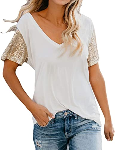 YpingLonk de Lentejuelas Casual Camiseta para Mujer Cuello en V Atractivas tee Encaje Top Sueltos Blusa Camisa con Manga Corta para Mujer: Amazon.es: Ropa y accesorios
