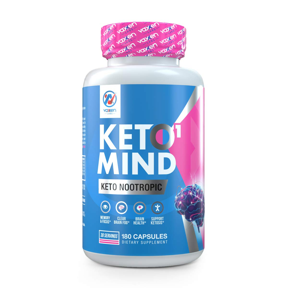Vaxxen Labs Keto1 Mind Nootropic Product to Clear Brain Fog, Enhance Mood and Support Ketosis with Alpha GPC, Tyrosine & Beta Hydroxybutyrate - 30 Day Supply