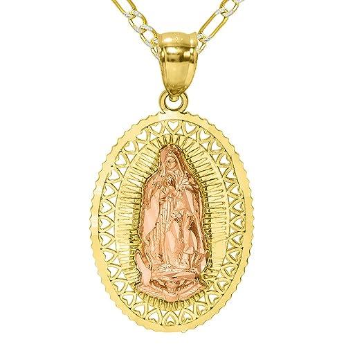 6f4c8d2581c9 Pyramid Jewelry Collar con Colgante de Oro de 14 K de 2 Tonos de la ...