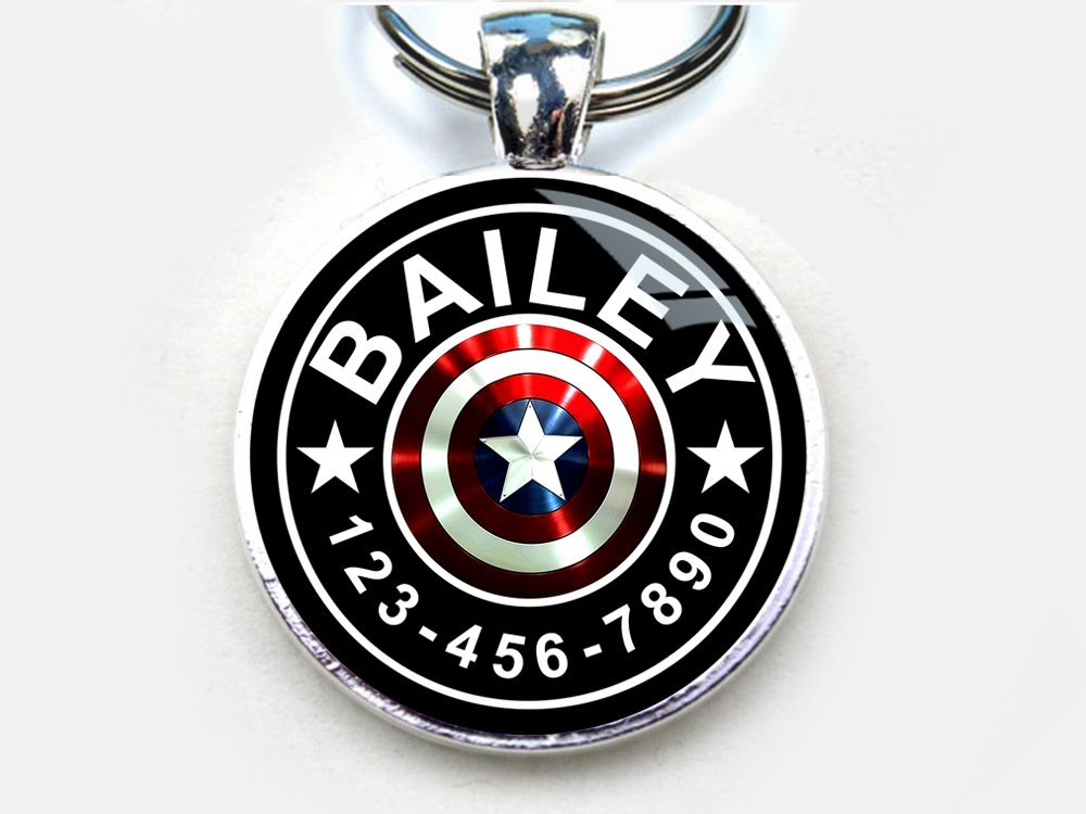 Captain America custom pet ID tag dog tag cat pet tag single sided with metal tray (large 1.5'')