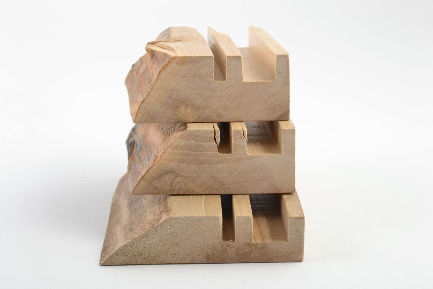 Handmade Stylish Unusual Set Of Stands For Gadgets Made Of Wood 3 Pieces