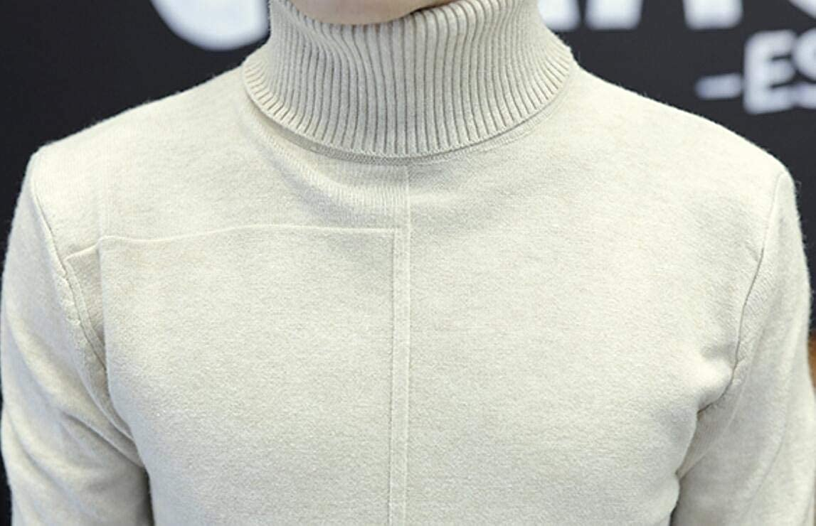 HTOOHTOOH Mens Solid Color Stylish High Neck Slim Fit Knitwear Knitting Pullover Sweaters