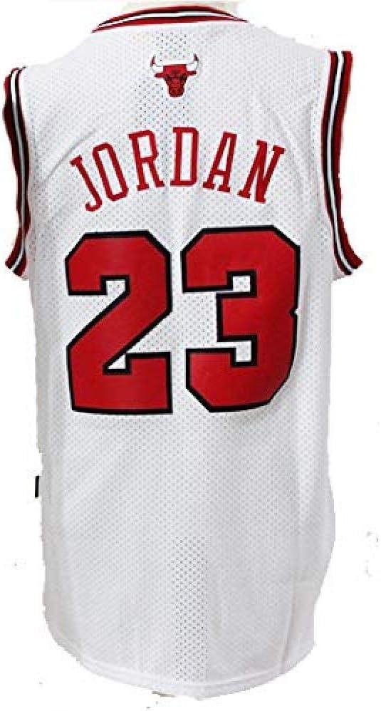 GJYJJKRY Maillot NBA Michael Jordan 23 James Chicago Bulls De Basket-Ball pour Hommes Maillots De Sport R/étro en Maille Brod/ée,White-S