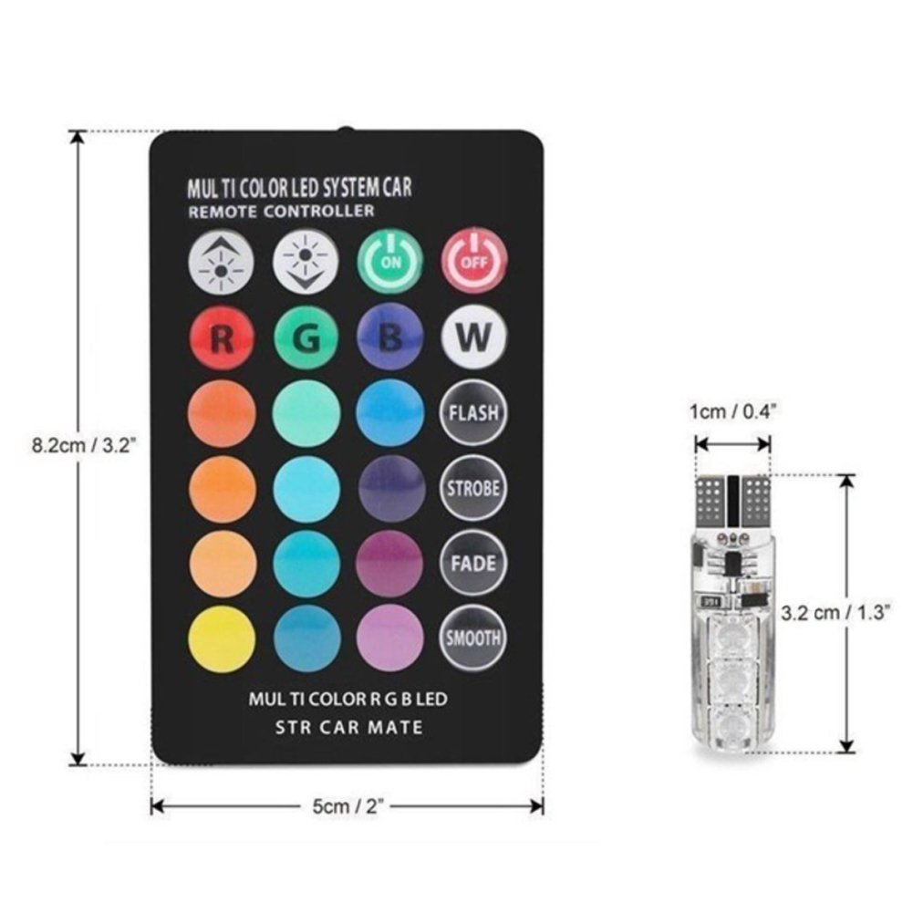 16 Colors Super Bright 194 168 2825 W5W Wedge LED Replacement for Car Dome Map Door License Plate Lights Sidelight with 24 Key Wireless Remote 2pcs T10 RGBW Car Interior LED Light Bulbs